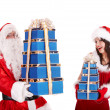 Christmas girl, santa claus with blue gift box group. - Stock Photo