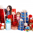 Happy family with child and group gift box. — Stock Photo