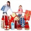 Happy family with child and group gift box. - Foto de Stock