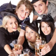 Foto Stock: Group young on party.