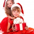 Group children in santa  hat with red gift box. - Stock Photo