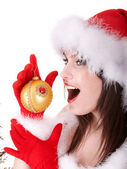 Face of christmas girl in santa hat. — Stock Photo