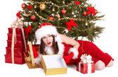 Bad santa. Christmas girl in depression. — Stock Photo