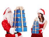 Dziewczyna Boże Narodzenie, Mikołaja z niebieski ofiara pole Grupa. — Zdjęcie stockowe