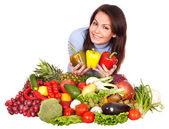 Girl with group of fruit and vegetables. — Foto Stock
