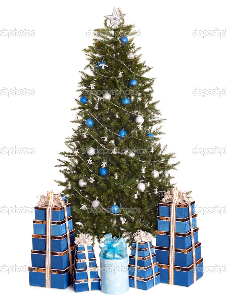 christmas tree with silver blue ball gift box group. Black Bedroom Furniture Sets. Home Design Ideas
