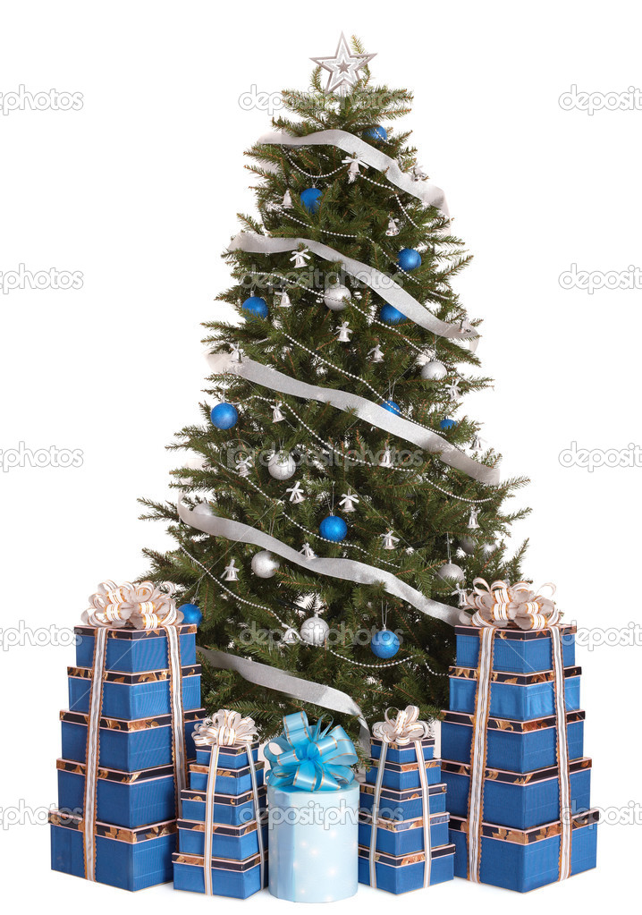 christmas tree with silver blue ball gift box group stock photo poznyakov 3955444. Black Bedroom Furniture Sets. Home Design Ideas