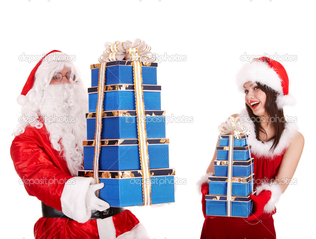 christmas girl santa claus with blue gift box group stock photo poznyakov 3955502. Black Bedroom Furniture Sets. Home Design Ideas