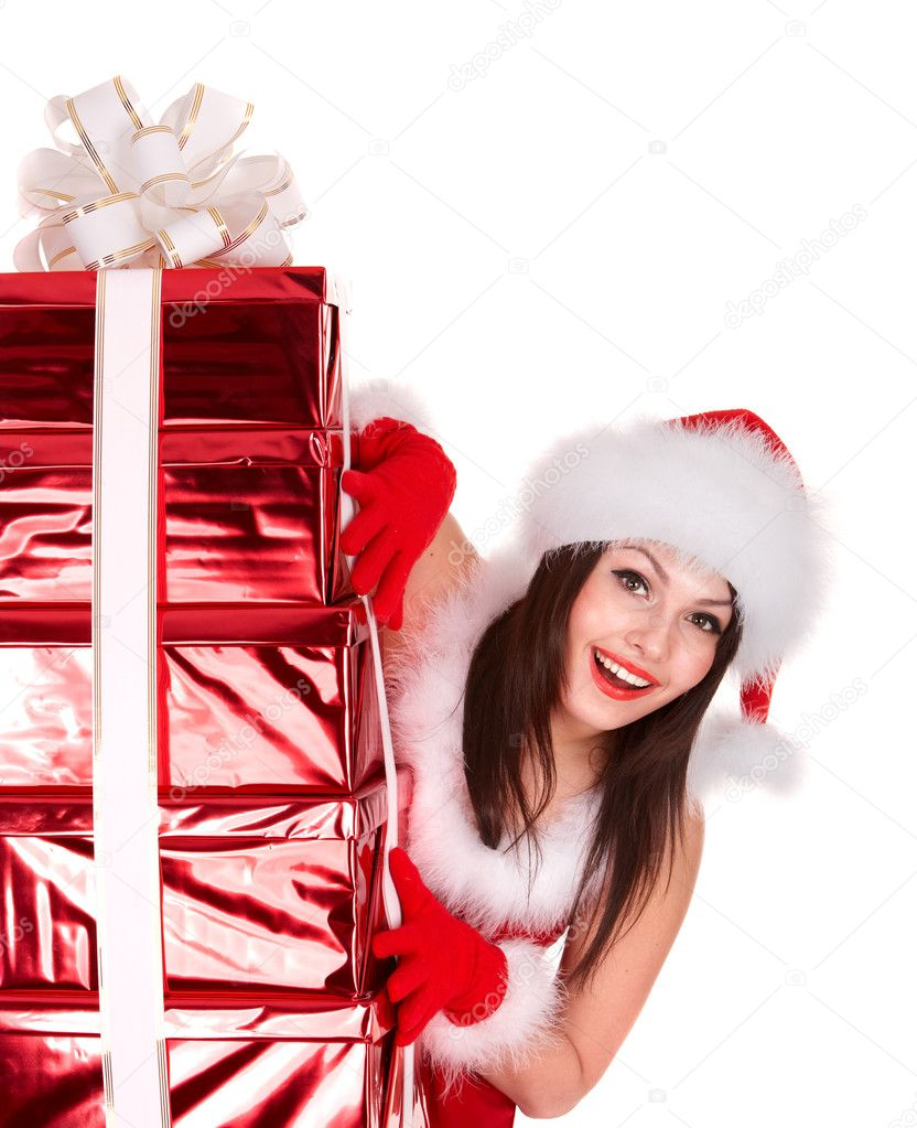 Christmas girl in santa hat with red gift box group. Isolated. — Stock Photo #3955583