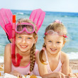 Children playing on beach. — Stock Photo