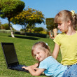 Children with laptop on green grass. — Stock Photo #5187674
