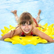 Child  on inflatable ring . — Stock Photo