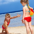 Children  playing on  beach. — Stock Photo #5187707