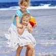 Children  playing on  beach. — Stock Photo #5187729
