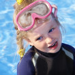 Child in swimming pool learning snorkeling. — Stock Photo