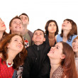 Stock Photo: Big group of looking up.