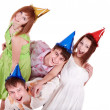Group of teenagers celebrate birthday. — Stock fotografie