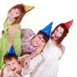 Group of teenagers celebrate birthday. — Foto de Stock