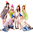 Group of in party hat celebrate birthday. — Photo