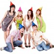 Stock Photo: Group of in party hat celebrate birthday.