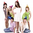 Group of teenagers celebrate birthday. — Foto Stock