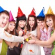 Group of teenagers celebrate birthday. — Stockfoto