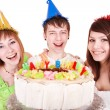 Group eat cake. — Stock Photo #5187950