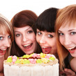 Stock Photo: Group of young celebrate happy birthday.