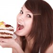 Girl with chocolate cake. — Stock Photo
