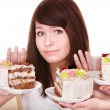 Girl refuse to eat pie. — Stock Photo #5187968