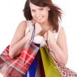 Girl holding group shopping bag. — Stock fotografie #5188020