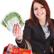 Business woman with money  and shopping bag. — Stock Photo