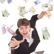Business women with flying money. - Stock Photo