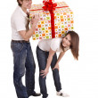 Happy man and girl with gift box. - Stockfoto