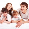 Stock Photo: Happy family upbringing children.