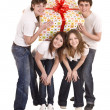 Happy family with gift box. — Stock Photo #5188075