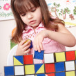 Child playing block at home. — Stock Photo