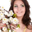 Beautiful girl with spring flower. — Stock Photo #5188390