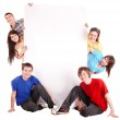 Group of happy with banner. — Stock Photo #5188537