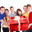 Group of with big red gift box. — Stok fotoğraf