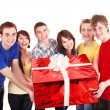 Group of with big red gift box. — Stock fotografie