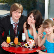 Happy family with child in cafe. — 图库照片 #5188607