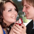 Man propose marriage to girl. - Stock Photo