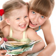 Children holding pile of money. — Stock Photo
