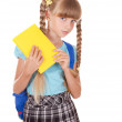 Schoolgirl with backpack holding books. — Stock Photo #5188694