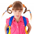 Stock Photo: School girl with backpack.