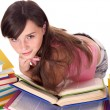 Girl with pile colored book . — Stock Photo