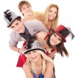 Stock Photo: Group young in party hat.
