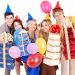 Group of  in party hat holding gift box. — Stok fotoğraf