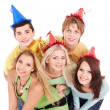 Group of young in party hat. — Stok fotoğraf